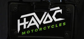 Havoc Motorcycles logo on a custom bagger for sale