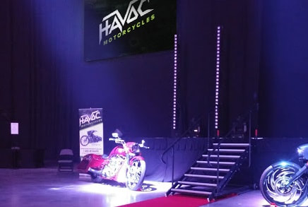 exotic motorcycles on stage